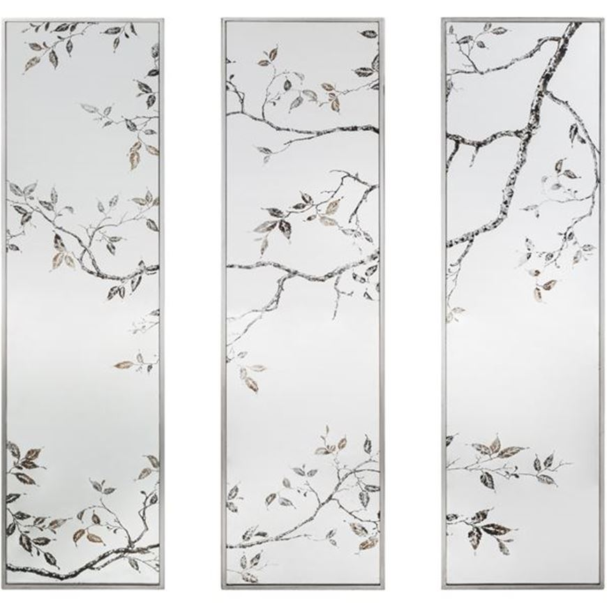 ROSLIN mirror 122x32 set of 3 clear/silver