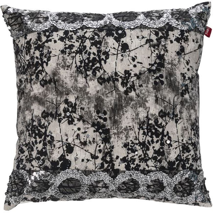 Picture of KABIR cushion cover 45x45 grey/black
