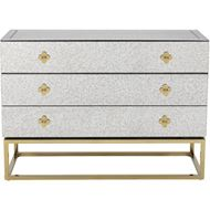 LOEN chest 3 drawers clear/gold