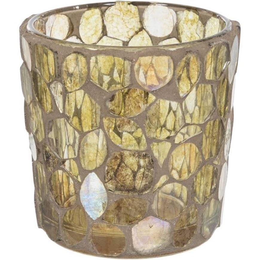 Picture of BEEHIVE tea light holder h8cm brown