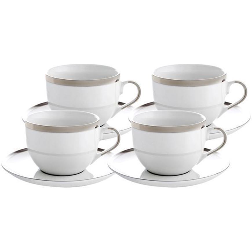 LUSTRE tea cup and saucer set of 4 cream