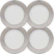 LINES dessert plate d21cm set of 4 white/silver