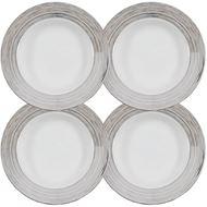 LINES soup plate d23cm set of 4 white/silver