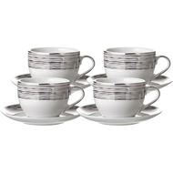 LINES tea cup and saucer set of 4 white/silver