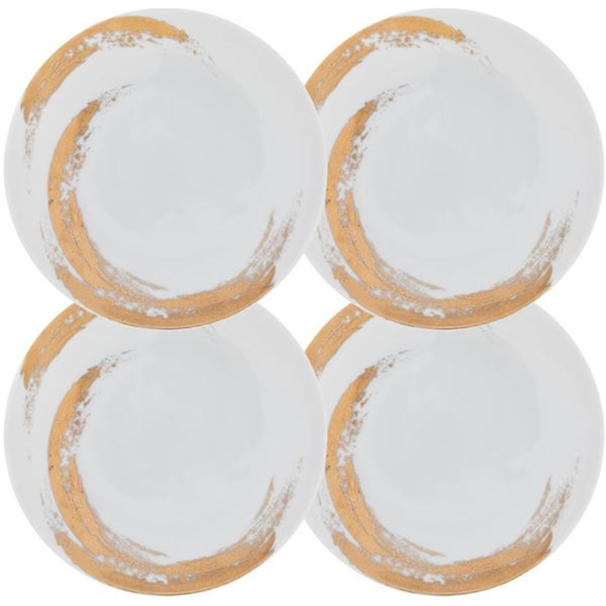 Picture of ODESSA dessert plate d21cm set of 4 white/gold