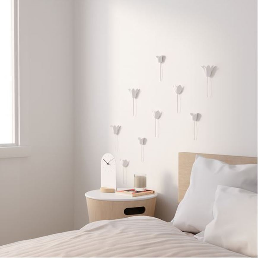 Picture of BLOOMER wall decoration set of 9 white