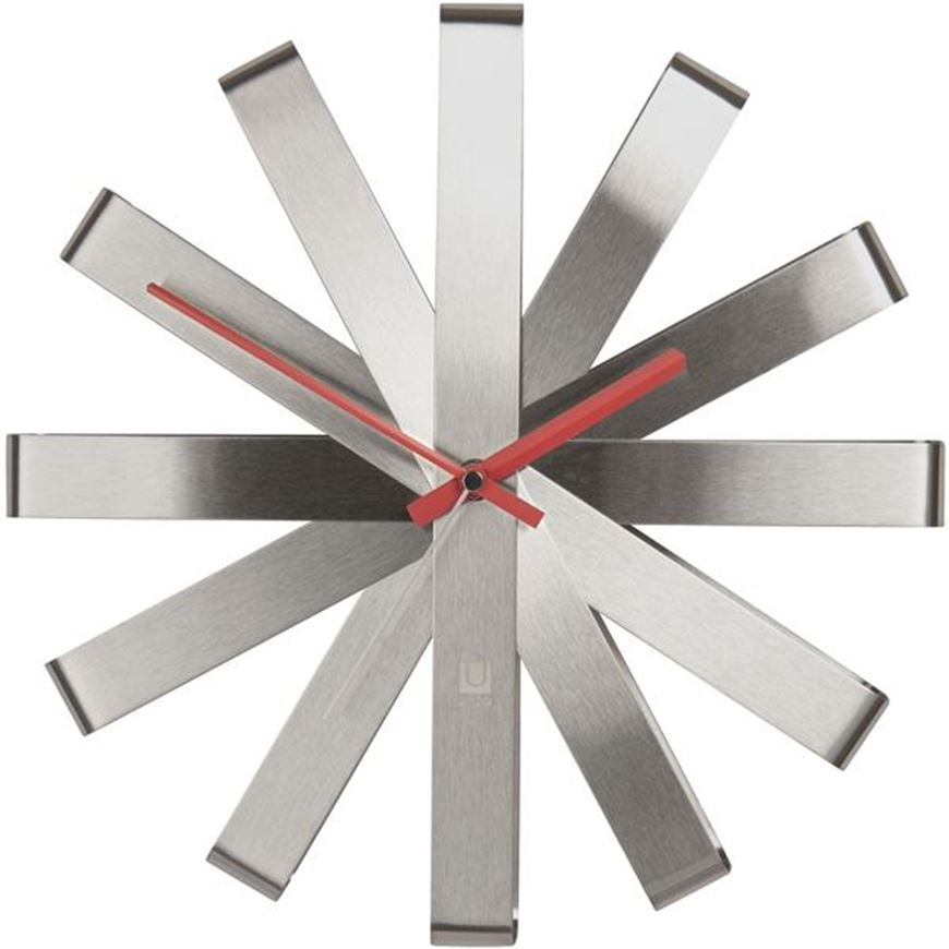 Picture of RIBBON clock d31cm silver