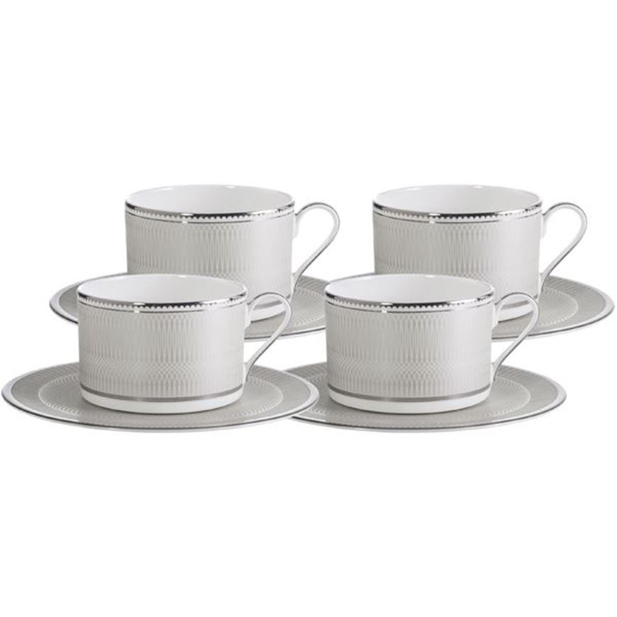 RUBEEN tea cup and saucer set of 4 white/silver