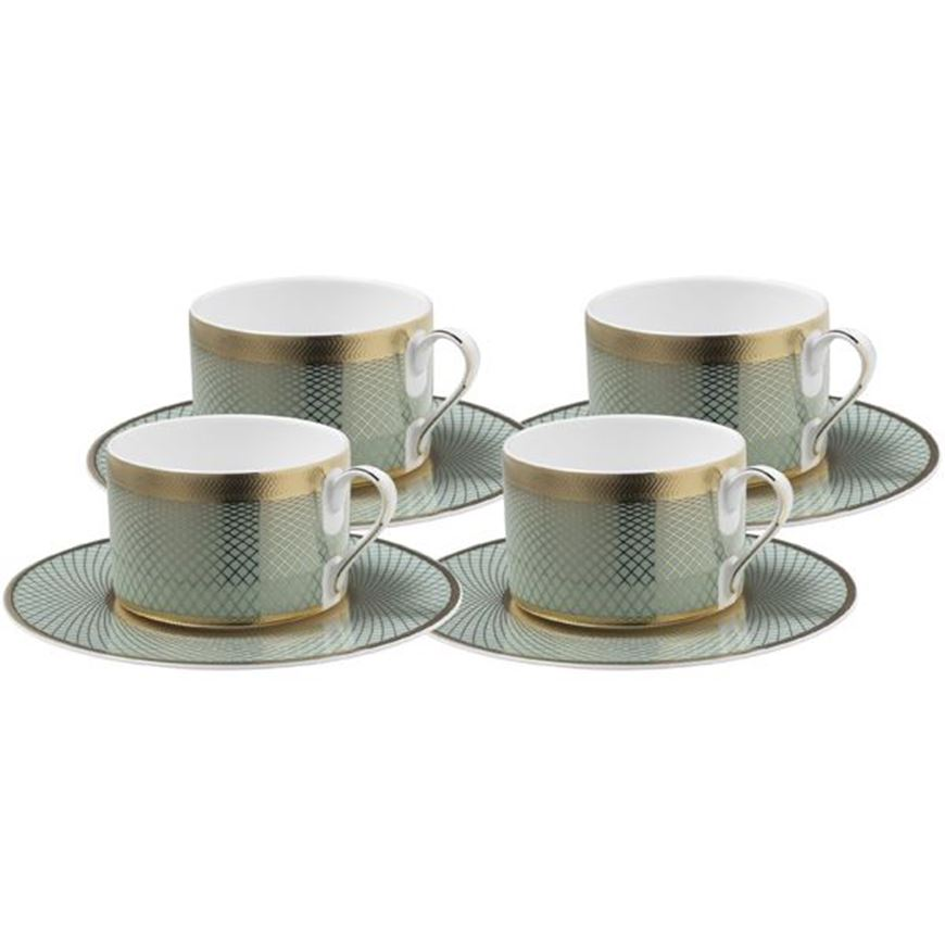 TIFFANY tea cup and saucer set of 4 blue/gold
