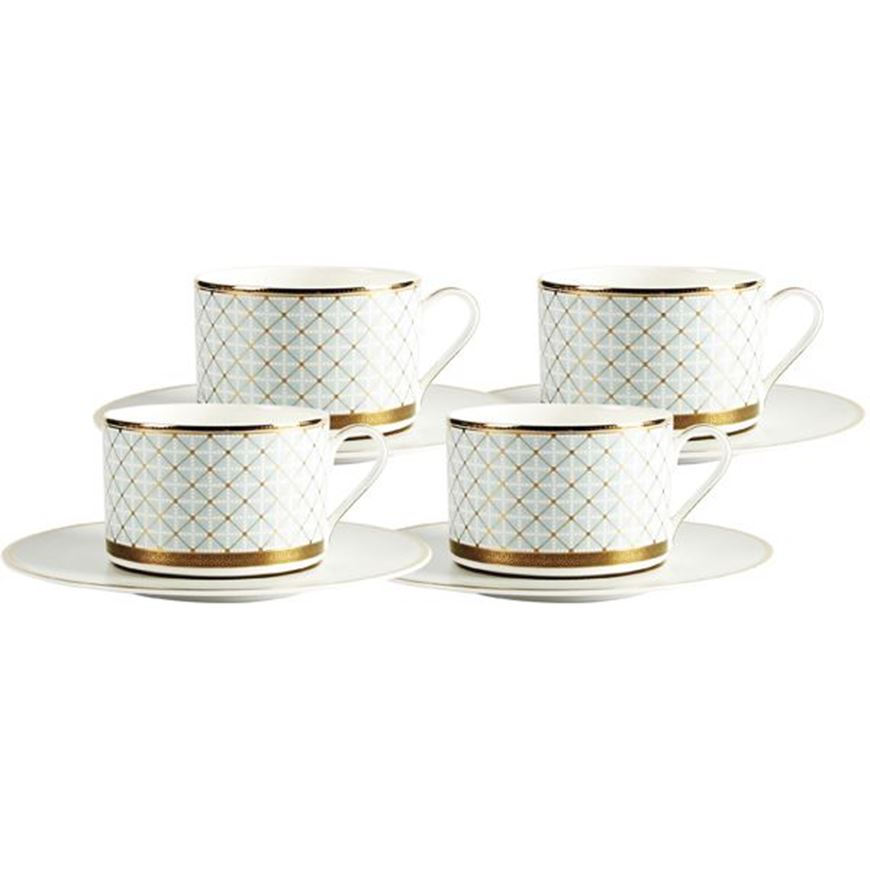 Picture of ASHBURY tea cup and saucer set of 4 blue/gold