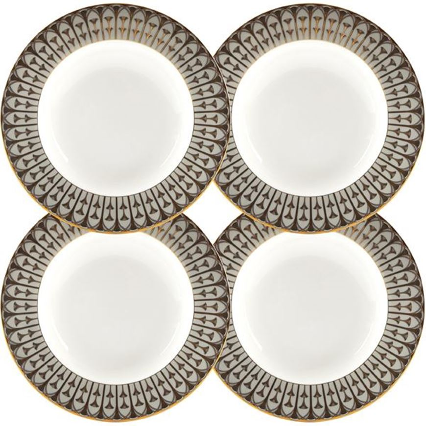 Picture of OBERON soup plate d22cm set of 4 grey/gold