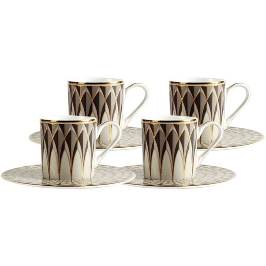 Picture of OBERON espresso cup and saucer set of 4 grey/gold