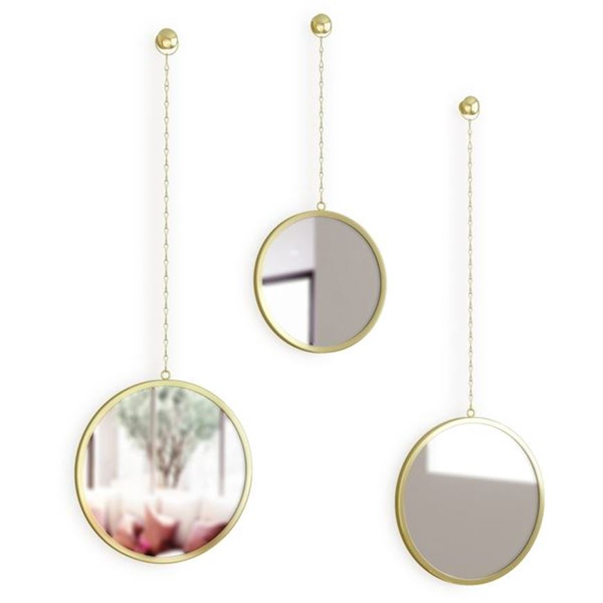 Picture of DIMA mirror round set of 3 brass