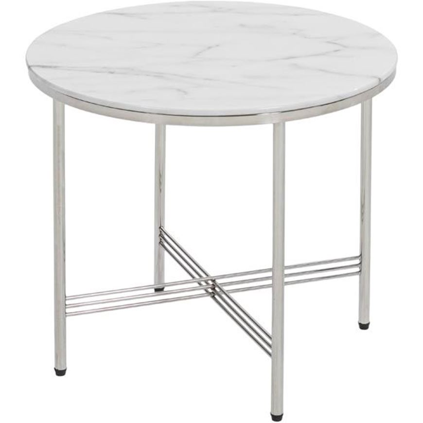 TRISH side table d50cm white/stainless steel