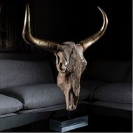 BULL skull decoration h82cm gold
