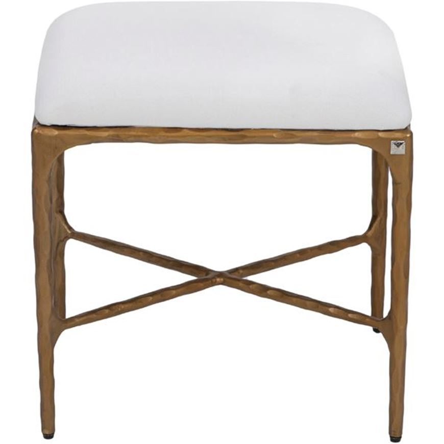 QUEEN dressing table stool 45x38 white/brass
