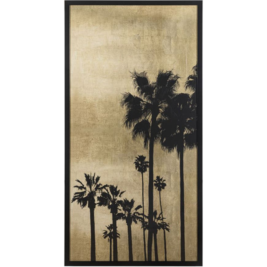 Picture of PALM Silhouette on Gold I print 78x154 black