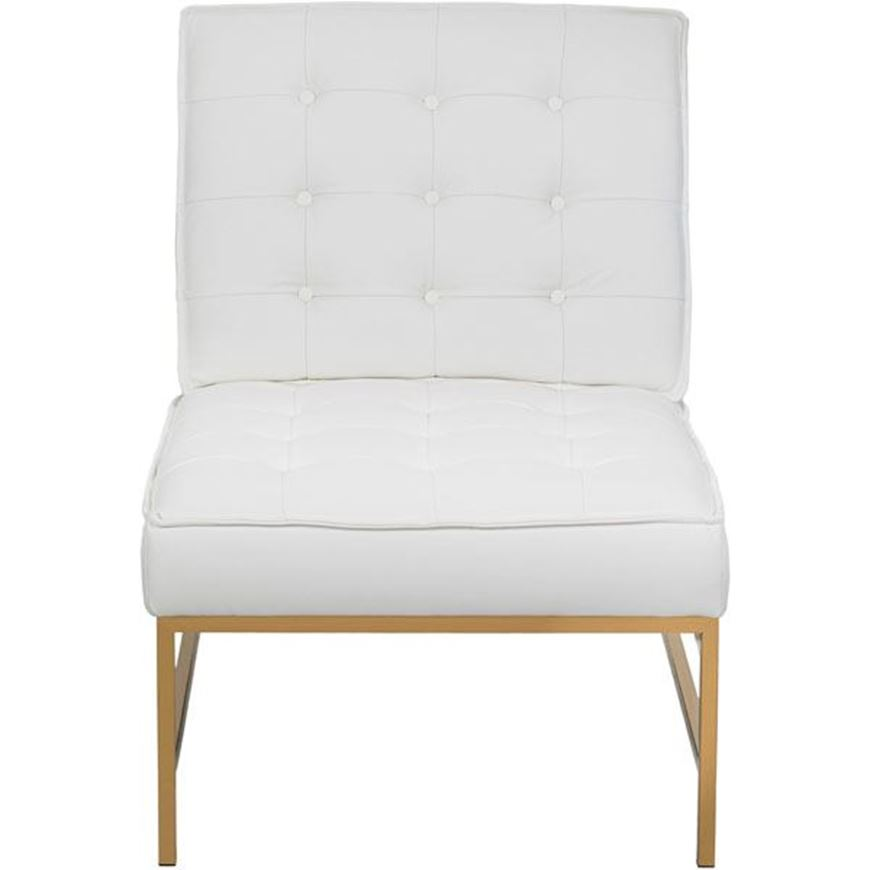 NOLD armchair leather white/gold