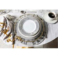 RUBEEN soup plate d24cm set of 4 white/silver