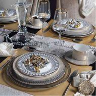 OBERON dessert plate d20cm set of 4 grey/gold