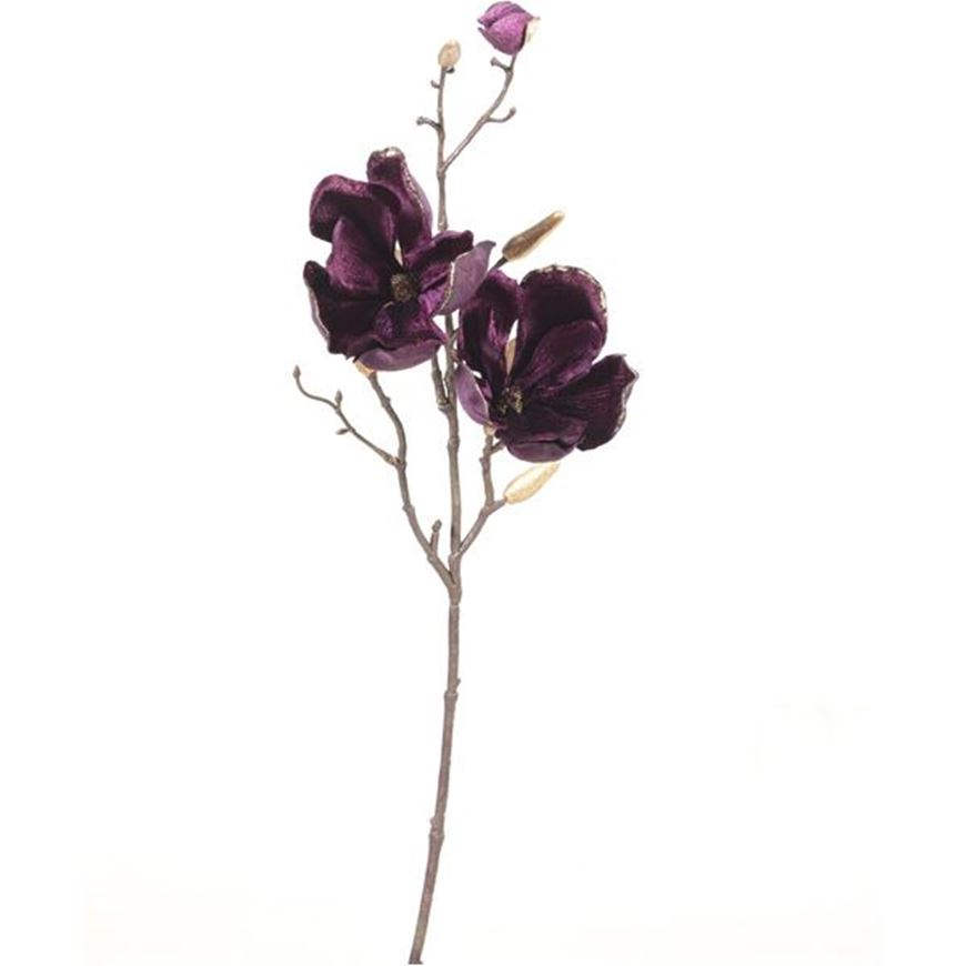 VELVET magnolia stem h61cm purple